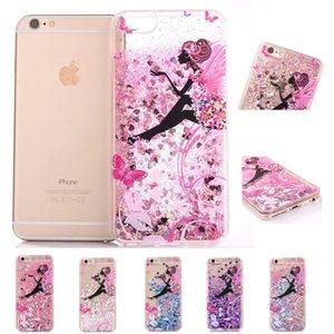 Transparenter kunststoff 3d glitter quicksand case für apple iphone 6 6s 7 plus luxus flüssig fließenden schwimmenden beweglichen stern glanz glitter abdeckung