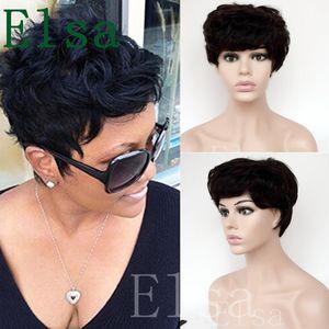 Короткие вьющиеся парики для черных женщин дешевые полный кружева бразильский Пикси вырезать индийские человеческие волосы 100% парики человеческих волос новые парики