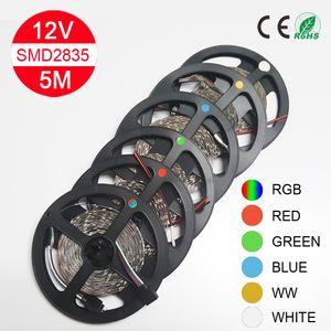 5M Led luz de tira SMD 2835 60LED / M Azul Verde Led 300LEDs flexível Luz Cordas RGB Vermelho Branco para o transporte livre festa de Natal