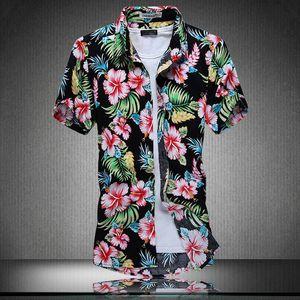 All'ingrosso- Ahkuci 2019 Camicia hawaiana a manica corta per uomo nuovo Stile estivo Cotone floreale Uomo Casual Spiaggia Hawaii Camicie F M-5XL Camicetta maschile