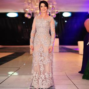 Hermosa 2019 madre de la vendimia vestidos de encaje de la novia vestido de noche Scoop mangas largas una línea Aplica Madre de la novia más el tamaño