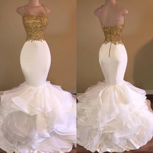 Асо Ebi Sexy Gold White оборки шнурок Mermaid Пром платье Спагетти-ремень Милых рукава ярусы юбка Вечерних платья