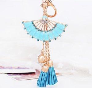 New Gold Leather Tassel Keychain Pour Les Femmes Cristal Porte-clés Sac Charme Pour Les Clés porte Fan Forme Porte-clés