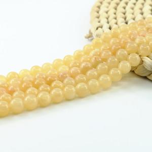 자연 노란색 옥 구슬 4 / 6 / 8 / 10mm 전체 스트랜드 15 인치 L0155 # 만들기 DIY 보석을위한 준 보석 구슬 공급
