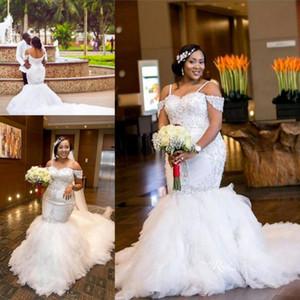 2017 Lindo Apliques Cap Mangas Lace Sereia Vestidos De Casamento Puffy Tulle Longo Custom Made Plus Size Vestidos De Noiva De Casamento BA5470