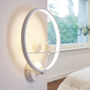 Nordic Postmodern LED Schlafzimmer Wandleuchte Nachttischlampe Simple Resin Angel / Lover / Birds Circle Aluminium Korridor Flur Wandleuchten