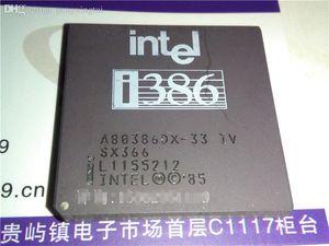A80386DX-33 IV SX366, Gold PGA 132 broches. 386 microprocesseur vintage. i386 vieux processeur. A80386DX, CPGA132. Composant élèctronique