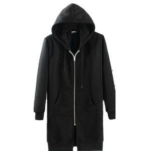 Wholesale- Avant-garde Europe&America Style Hip Hop Extended Hoodies Men Streetwear Hoody Black Hoodies Men Outwear Sweatshirt