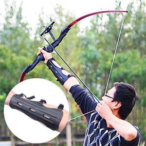 Tiro protector de la mano Guardia del brazo Tiro con arco de cuero de cuero de vaca Tres correas ajustables Archer Protector Shooter Protection Envío gratis