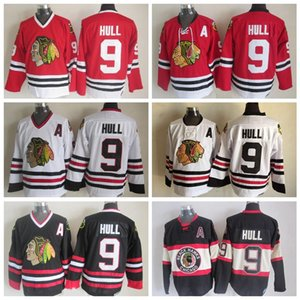 Vintage Chicago Blackhawks Hokeyi Formalar 9. Bobby Hull Ev Kırmızı Beyaz Vintage Bobby Hull Dikişli Jersey A Patch S-XXXL