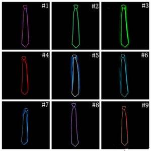 GLowing EL Tel Boyun Kravat Kulübü Için 10 Renkler LED Flaş Erkekler Kravat Cosplay Akşam Parti Dekorasyon