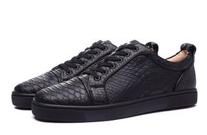 Nouvelle Arrivée Hommes Femmes Noir Snakeskin Rouge Bas Sneakers Chaussures En Cuir Véritable concepteur De Luxe De Mode En Plein Air Chaussures EUR36-46