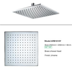 Modern Banyo Duş başlıkları LED Işık olmadan Pirinç 10 Inç Showerhead Yağmur Şırınga Masaj