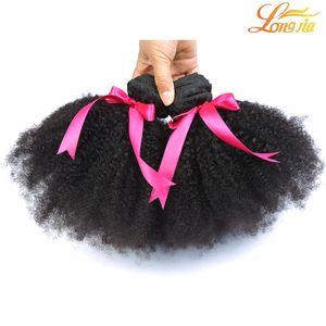 100% Brezilyalı Afro Kinky Kıvırcık Demetleri Insan Saçı Atkı Doğal Renk Remy Saç Uzantıları Siyah Kadınlar için Ücretsiz Nakliye Longjia Saç Şirketi