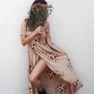 Boho style long dresses for womens Off shoulder beach summer dresses Floral print Vintage chiffon white maxi dress beach dresses LA467