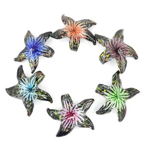 Lampwork Glass starfish Pendants glaze handmade starfish beads for necklace with mix colors 12pcs pack MC0057