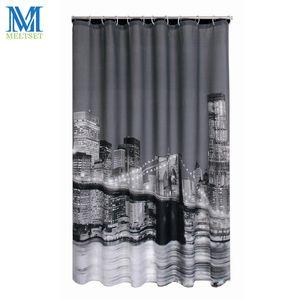 Venda por atacado - Cidade moderna noite cena impermeável cortina de chuveiro produtos de banho cortina de banho de poliéster 180x180CM