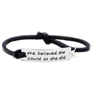 Elle a cru qu'elle pourrait ainsi elle a fait des cadeaux inspirants en cuir réglables pour des étudiants Filles femmes enfants anniversaires Bracelets d'encouragement