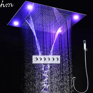 고급 욕실 샤워 수도꼭지 LED 원격 제어 큰 레인 샤워 헤드 세트 천장 듀얼 비와 폭포 미스트 샤워를 탑재