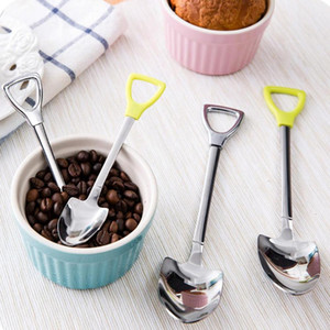 Wholesale- New Stainless Steel Spoon Size M L Shovel Shape Design Coffee Ice Cream Soup Spoon Long Handle Honey Teaspoons for Children W45