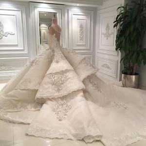 Luxury 2019 Real Image Lace Ball Gown Wedding Dresses Arabic Dubai Sheer Scoop Crystal Beaded Cathedral Bridal Gowns EN7212