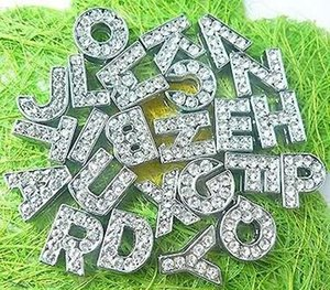 Wholesale 1300pcs lot 8mm A-Z full rhinestone bling alloy slide letters DIY charms fit for 8mm leather bracelet phone strips