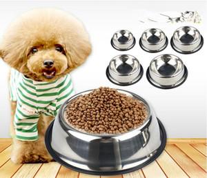 الفولاذ المقاوم للصدأ القط الكلب وعاء عالية الجودة عدم الانزلاق عاء الحيوانات الأليفة عاء الطعام أدوات المائدة