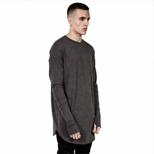 Das Hip Hop-T-Shirt der Männer voll langes Hülsen-T-Shirt mit den Daumen-Loch-Manschetten-T-Shirts Kurvensaum-Mann-Straßen-Abnutzungs-Oberteile