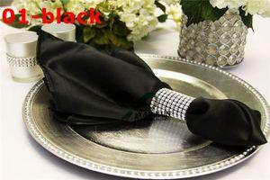 Colore Nero 100pcs Lot raso tovagliolo Per decorazione di cerimonia nuziale \ prezzo poco costoso Tovaglia tovaglioli