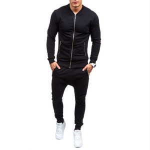 Spring high quality mens cotton black sports jogging suits sets Man gym clothing tracksuit m209