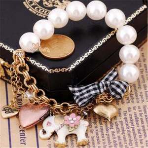Anillos de pulsera de elefante de perlas de imitación retro Arco pulseras de corazón joyería de cuentas de moda para dama regalo de Navidad