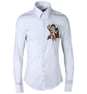 Envío gratis 2017 otoño nueva llegada de moda Babbitt bebé cruz bordado diseño famoso para hombre de manga larga ocasional Slim Fit camisa caliente