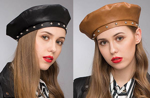 Stand Focus Donna Faux Leather Studs French Beret Painter Flat Baker Boy Cappello Newsboy Cap Donna Fashion Autunno Inverno Nero Marrone Elegante Cool