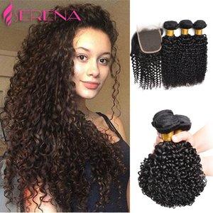 Haarbündel mit Top Closure Buy 3 Haarsträhnen erhalten kostenlose 1pc lockige Welle Lace Front Schließung malaysische tiefe lockige menschliche Haarwebart
