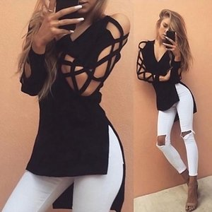 Senza Fretta New Womens Hollow Casual Long Sleeve Tops Loose Ladies Lace Sexy T Shirt NS501