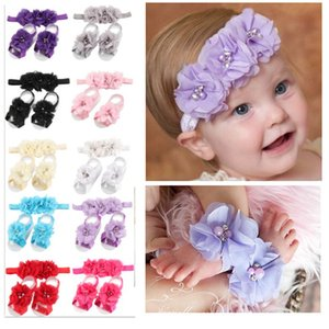 Chiffon Girls Head Pieces 2017 con 2 pies de flores para bodas Bautizo de cumpleaños Party Wear 20 colores diferentes Diademas para bebés