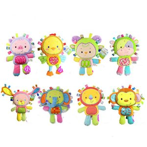 Happy Monkey 35cm Baby Rattle Stuffed Plush Doll Toy BIBI Bar Stick Animal Squeaker Toys Infant Hand Puppet Enlightenment Pig