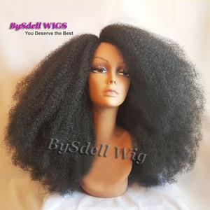 Belleza Afro rizado rizado peluca rizada del frente del cordón del pelo Peluca larga rizada sintética a prueba de calor afroamericana del frente del cordón para las mujeres negras