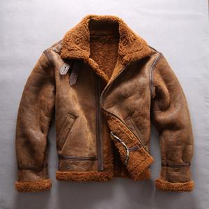 Chaquetas de cuero de piel de oveja AVIREXFLY de doble cara B3 chaquetas de vuelo de cuello redondo de la fuerza aérea de la fuerza aérea