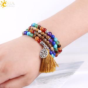CSJA Joyas de piedra natural Imagen Jasper Beaded Bracelet Chakra Jewellery Silver Charm 108 Mala Beads Bracelet Árbol de la vida colgante E663