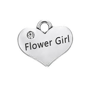 Comercio al por mayor de Alloy Flower Girl Baby Stamped Heart Message Charms para Joyería de La Boda 15 * 17mm 50 unids AAC1612