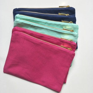 algodón 12 oz de tela bolsa de maquillaje de color sólido con cremallera dorada guarnición de oro 6 * 9 pulgadas de tela bolsa cosmética para la impresión de bricolaje caliente rosa / azul marino / nave de DHL libre de la menta