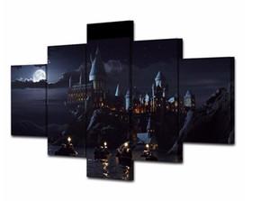 5 Peça Cópias Da Lona de Arte de Parede Harry Potter Escola Movie Cartazes Pintura de Parede Arte Modular Imagem Para Sala de estar Decoração de Casa