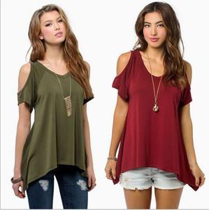 Wholesale- Summer 2016 fashion T-shirts for women hole shoulder tee shirt femme camisetas poleras de mujer tshirt female t shirts tops