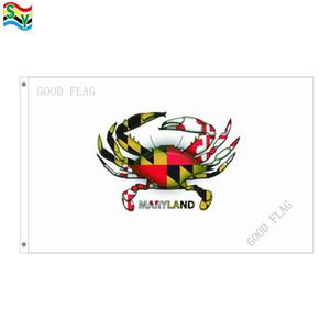 GoodFlag-freies Verschiffenmarylandkrabben-Mantelweiße Markierungsfahnengrafik kennzeichnet Fahne 3X5 FT 90 * 150CM Polyster-Flagge im Freien