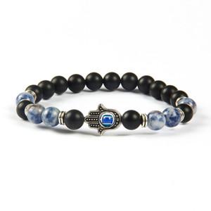 Chegada nova Mens Beaded Jóias Atacado 8mm Ágata Fosco, Sodalita Jasper Pedra Beads Proteção pulseiras de Hamsa