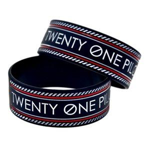 Neue Ankunft 50 Teile / los 1 Zoll Breite Bangle Twenty One Piloten Silikon Armband Tinte gefüllte Logo Armband