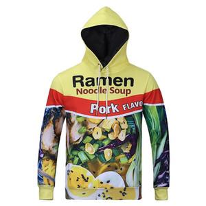 Al por mayor-Raisevern 2016 con capucha 3D nuevo estilo Ramen sopa de fideos HD Imprimir la camiseta de cerdo / pollo / carne de vaca divertido sudadera tapas M-3XL