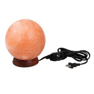 6inch 8-9Lbs Himalayan Salt Lamp Globe Hand aus Crystal Steinsalz Nachtlicht auf Holzsockel mit Dimmer Control, Glühbirne geschnitzt
