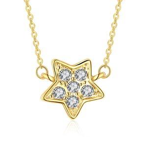 Diseño simple 18 K oro amarillo color 18 '' cadena de enlace Solitario espumoso Rhinestone Five Pointed Star Necklace para mujeres envío gratis